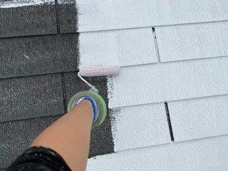 屋根カラーベスト下塗り一回目塗装状況