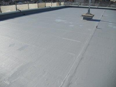 屋上防水防水材塗装施工後