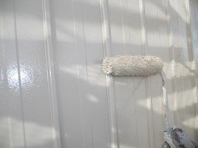 外壁板金上塗り塗装状況
