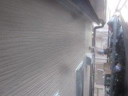 外壁サイデイング上塗り塗装状況