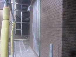 外壁タイル調サイデイングクリアー二回目塗装完了