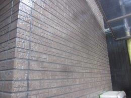 外壁タイル調サイデイングクリアー一回目塗装完了