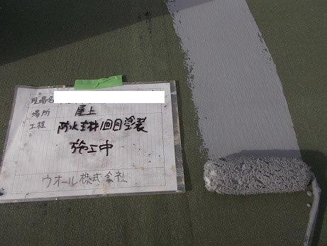 屋上防水防水材塗装状況