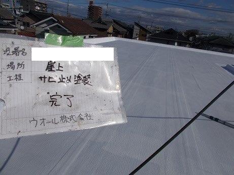 屋上防水断熱塗料下塗り塗装完了