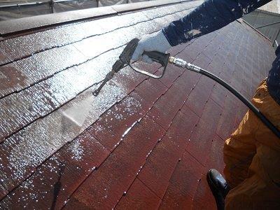 屋根塗装前高圧洗浄状況