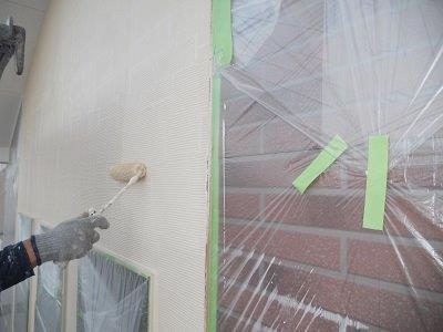 外壁サイデイング塗装上塗り塗装状況