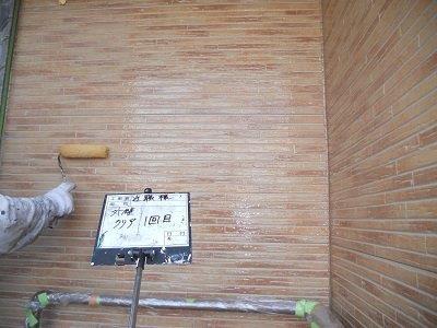 外壁サイディング塗装クリヤー塗装二層目塗装状況
