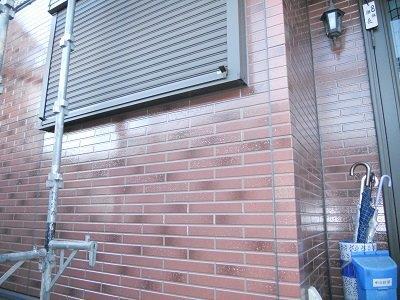 外壁タイル調サイデイングクリアー塗装完了