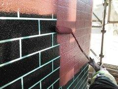 外壁ALC塗装タイル調塗装上塗り塗装状況