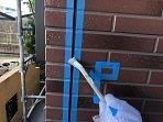 外壁タイル調サイデイングクリアー塗装後目地コーキング打替えプライマー塗布状況