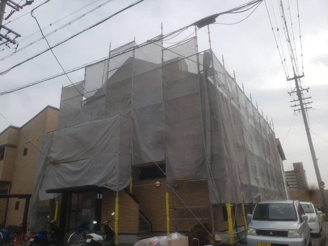 屋根塗装 外壁塗装足場仮設完了