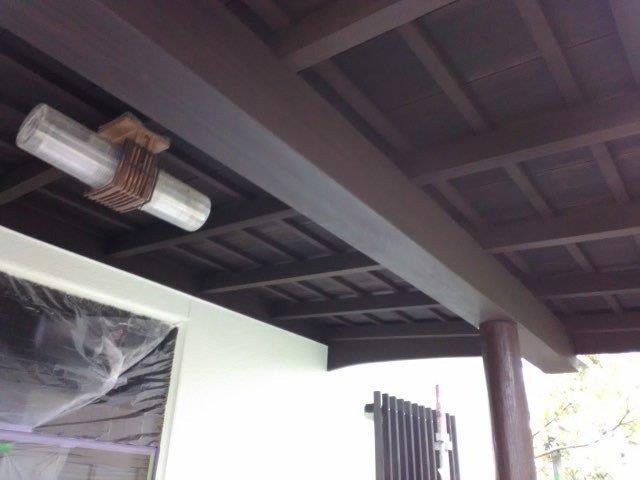 軒天木部塗装キシラデコール塗装完了