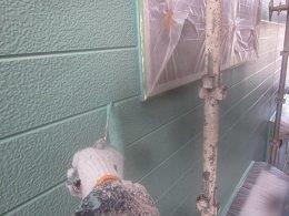 外壁サイディング上塗り塗装状況