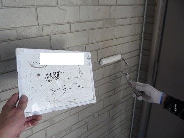 サイディング塗装下塗り一層目塗装状況