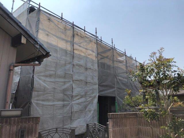 外壁塗装足場組立完了