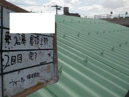 屋根スレート塗装断熱塗料二層目塗装完了