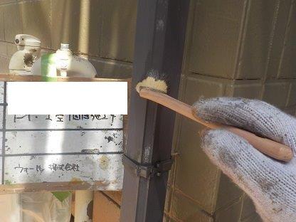 雨樋上塗り一層目塗装状況