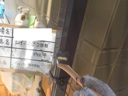 雨樋上塗り二層目塗装状況