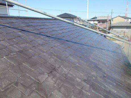 屋根塗装遮熱フッ素塗料一層目塗装完了