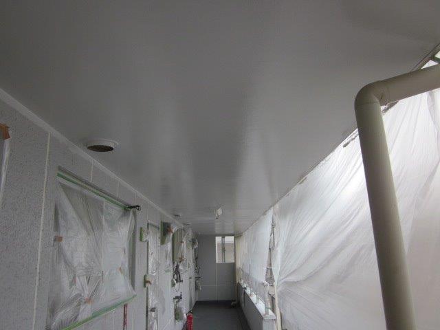 軒天上塗り一層目塗装完了