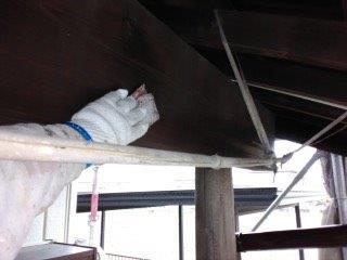 玄関木部素地調整状況