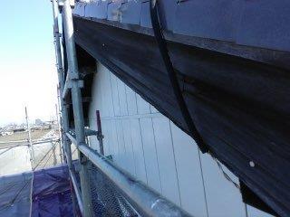 破風板上塗り一層目塗装完了