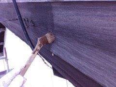 破風板上塗り一層目塗装状況