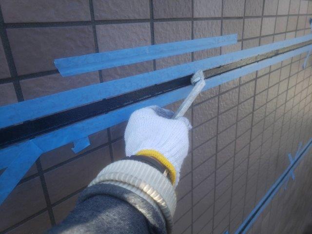 外壁タイル部目地部コーキング打替えコーキングプライマー塗布状況