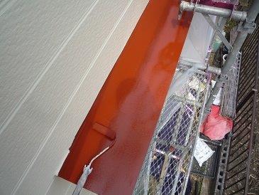 板金庇塗装錆止め塗装状況