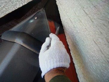 水切り板金上塗り一層目塗装状況
