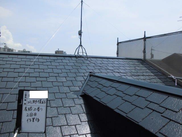 屋根カラーベスト遮熱フッ素塗料塗装上塗り二層目塗装完了