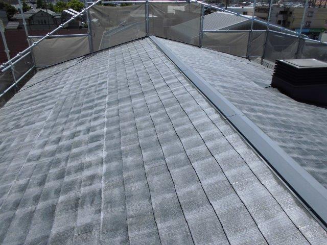 屋根カラーベストキルコ遮断熱塗料塗装下塗り塗装完了