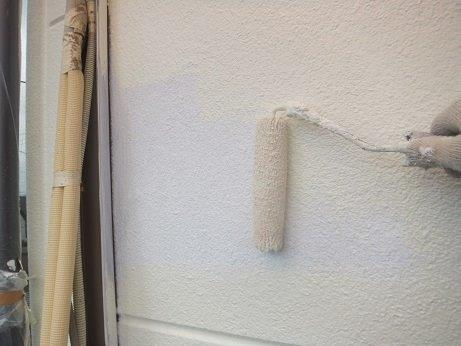 外壁ALCフッ素塗料塗装上塗り一層目塗装状況