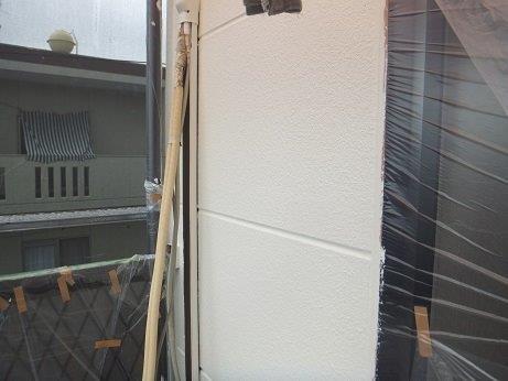 外壁ALCフッ素塗料塗装上塗り一層目塗装完了