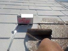 屋根遮熱塗料一層目塗装状況