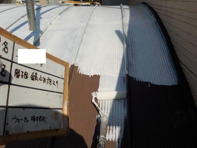 折半屋根錆止め塗装状況