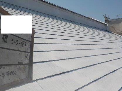 屋根遮熱シリコン塗装下塗り一層目塗装完了