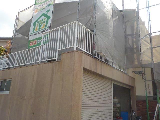 外壁塗装足場仮設完了