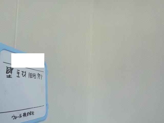 外壁モルタルキルコ断熱塗料塗装上塗り一層目塗装完了