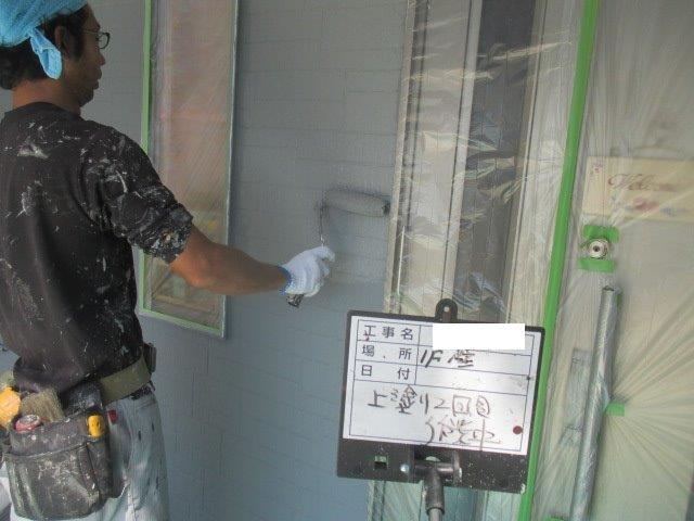 外壁サイディングキルコ断熱塗料上塗り二層目塗装状況