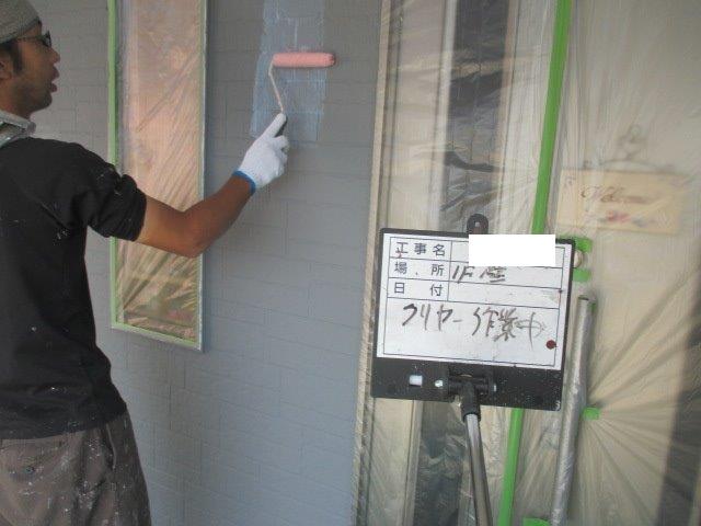 外壁サイディングキルコ断熱塗料トップコート塗装状況