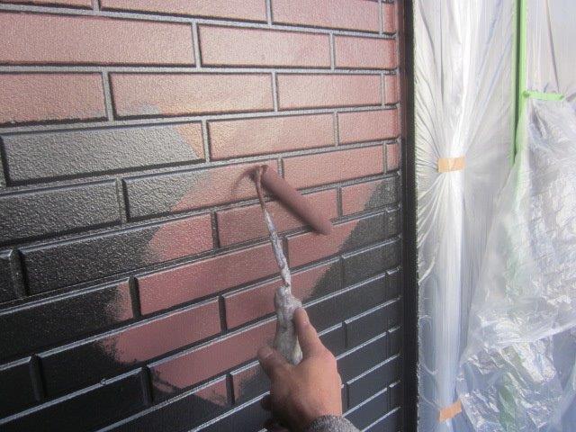 外壁タイル調サイデイング2色塗りフッ素塗料塗装表面色塗装状況