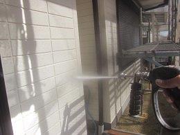 外壁塗装前高圧洗浄状況