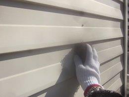 車庫外壁板金塗装前素地調整状況