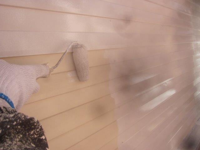 車庫外壁板金錆止め塗装状況