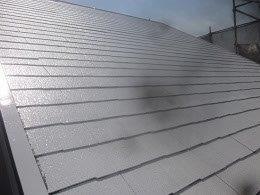 屋根遮熱フッ素塗料塗装下塗り二層目塗装完了