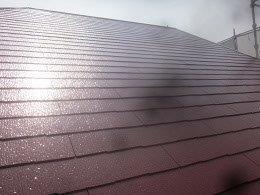 屋根遮熱フッ素塗料塗装上塗り一層目塗装完了