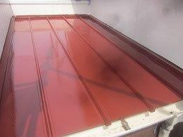 板金屋根遮熱フッ素塗料塗装上塗り二層目塗装完了