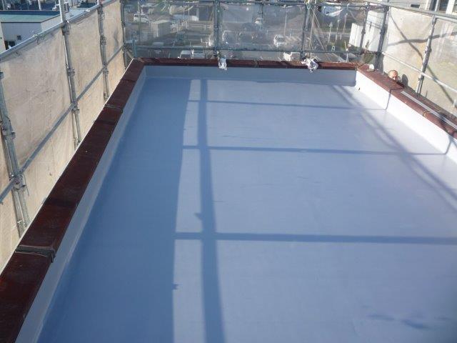 屋上防水塗装トップjコート塗装完了