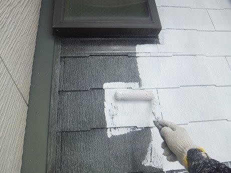 屋根キルコ遮断熱塗料主剤一層目塗装状況